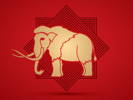 saurian: Mammoth designed online square background graphic vector.