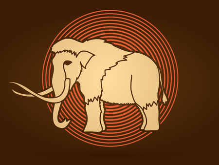 saurian: Mammoth designed on line cycle background graphic vector. Illustration