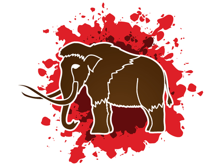 proboscis: Mammoth designed on splash blood background graphic vector. Illustration