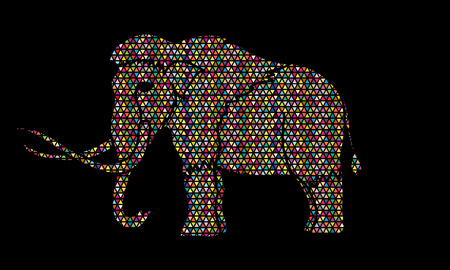 saurian: Mammoth designed using colorful mosaic pattern graphic vector.