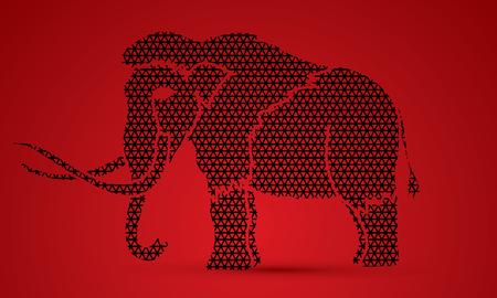 saurian: Mammoth designed using line geometric pattern graphic vector.