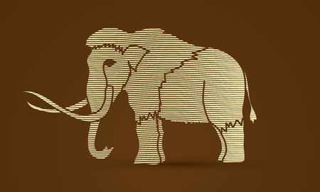 Mammoth designed using line wave graphic vector.
