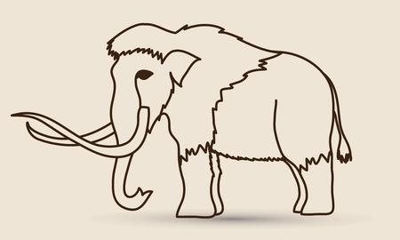 contour Mammoth vecteur graphique.
