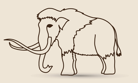 saurian: Mammoth outline graphic vector.