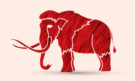 wooly: Mammoth designed using red grunge brush graphic vector. Illustration