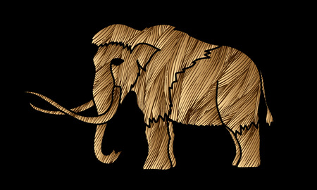 wooly: Mammoth designed using gold grunge brush graphic vector.