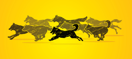 Dogs running designed using grunge brush graphic vector.