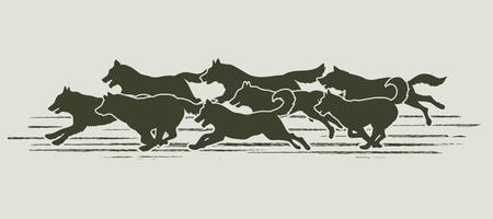 Perros que se ejecutan diseñados usando cepillo del grunge de gráficos vectoriales.