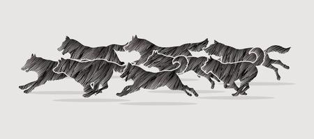 Dogs running designed using black grunge brush graphic vector.