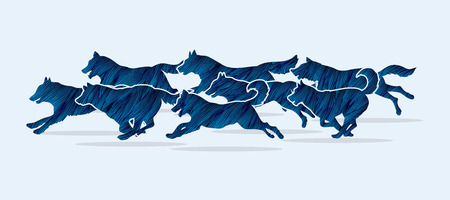 pack animal: Dogs running designed using blue grunge brush graphic vector. Illustration