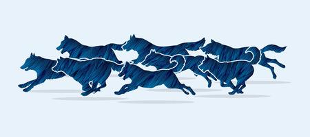 Perros que se ejecutan diseñados utilizando el cepillo azul del grunge de gráficos vectoriales. Ilustración de vector