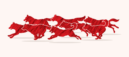 packs: Dogs running designed using red grunge brush graphic vector.