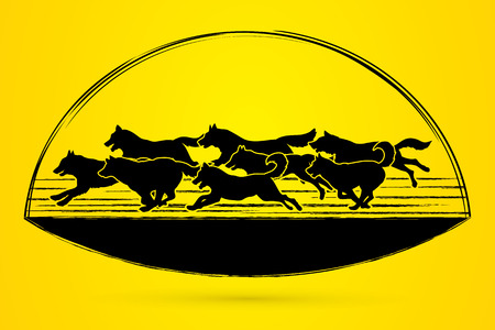 Dogs running graphic vector.