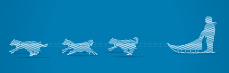 sled dogs: Sled Dogs designed using geometric pattern graphic vector.