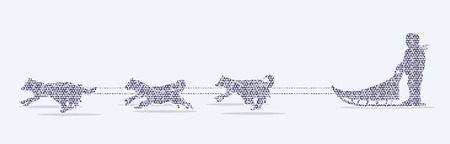 sled dogs: Sled Dogs designed using mosaic pattern graphic vector. Illustration