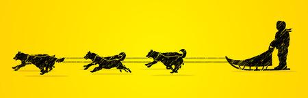 Perros de trineo diseñado usando cepillo del grunge de gráficos vectoriales.