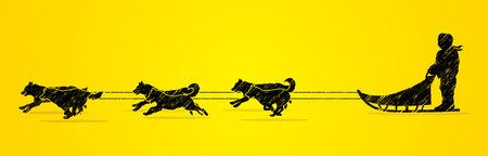sled dogs: Sled Dogs designed using grunge brush graphic vector.