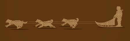 dog sled: Sled Dogs designed using luxury geometric pattern graphic vector.