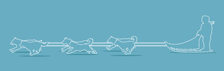 sled dogs: Sled Dogs outline graphic vector.