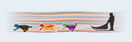 sled dogs: Sled Dogs designed on line rainbows background graphic vector.