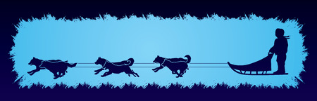 sled dogs: Sled Dogs designed on grunge frame background graphic vector.