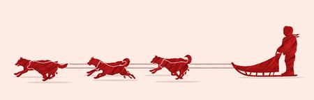 Perros de trineo diseñado usando cepillo rojo grunge gráfico vectorial.