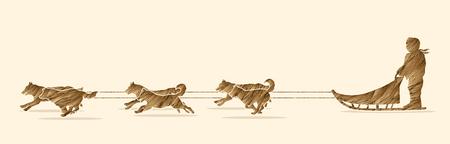 mushing: Sled Dogs designed using brush gold grunge graphic vector.