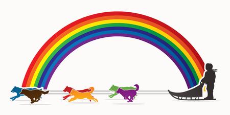 Perros de trineo diseñado sobre el arco iris línea de fondo gráfico vectorial.