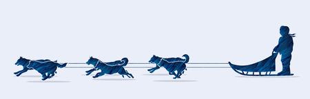 Sled Dogs designed using blue grunge brush graphic vector.
