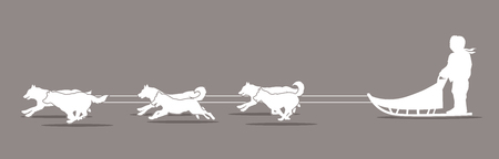 sled dogs: Sled Dogs graphic vector.