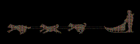 dog sled: Sled Dogs designed using colorful mosaic pattern graphic vector.