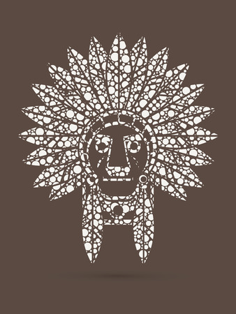 valiant: Native American Indian chief , Head designed using dots graphic .