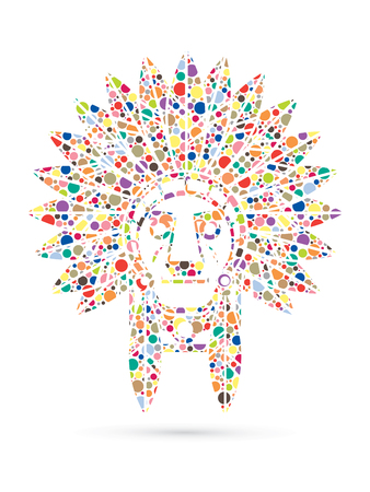 indian chief: Native American Indian chief , Head designed using colorful halftone graphic .