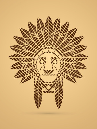 valiant: Native American Indian chief , Head designed using geometric line square graphic .