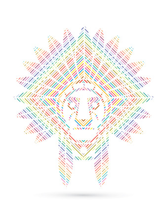 Native American Indian chief , Head designed using colorful line square graphic .