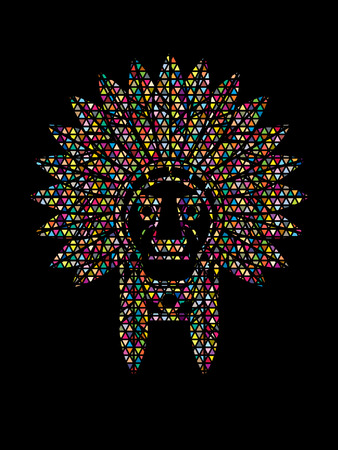 valiant: Native American Indian chief , Head designed using colorful mosaic graphic .