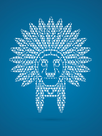 indian chief: Native American Indian chief , Head designed using line geometric graphic .