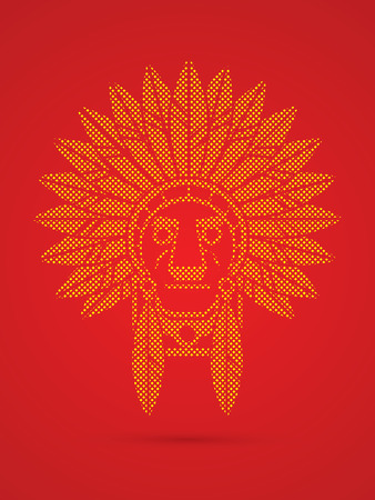 Native American Indian chief , Head designed using dots pattern graphic .