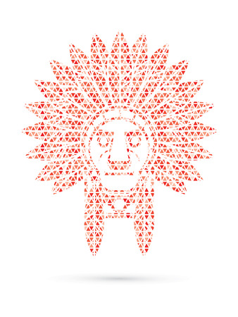 indian chief: Native American Indian chief , Head designed using red mosaic pattern graphic .