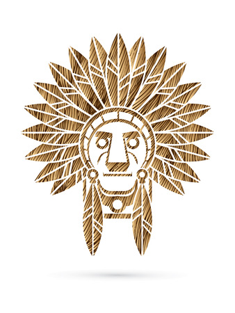 Native American Indian chief , Head designed using golden grunge brush graphic .