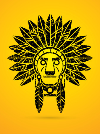 designed: Native American Indian chief , Head designed using grunge brush graphic . Illustration