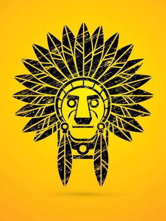 Native American Indian chief , Head designed using grunge brush graphic . Illustration