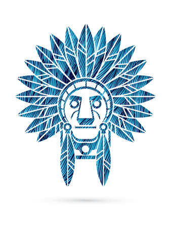 Native American Indian chief , Head designed using blue grunge brush graphic .