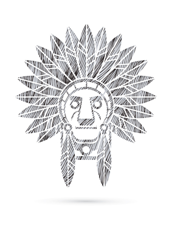 native american indian chief: Native American Indian chief , Head designed using black grunge brush graphic . Illustration