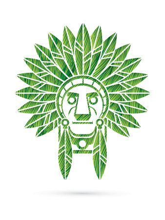 valiant: Native American Indian chief , Head designed using green grunge brush graphic . Illustration