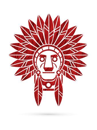 chef indien indigène, chef conçu en utilisant le rouge graphique brosse grunge.