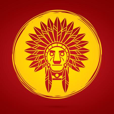 luz de luna: jefe indio nativo americano, Jefe diseñado sobre fondo claro de luna gráfico. Vectores