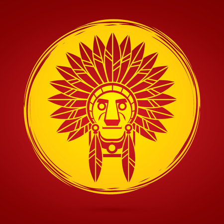 Native American Indian chief , Head designed on moonlight background graphic .