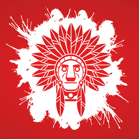 valiant: Native American Indian chief , Head designed on splash brush background graphic .