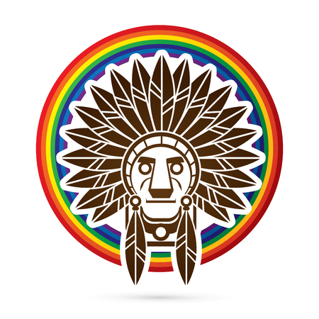 indian chief: Native American Indian chief , Head designed on rainbows background graphic . Illustration